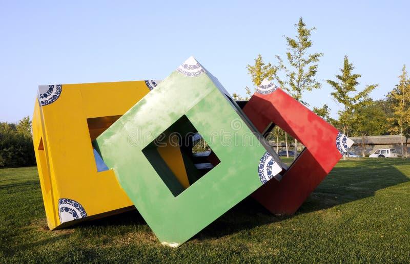 Escultura del cubo foto de archivo libre de regalías