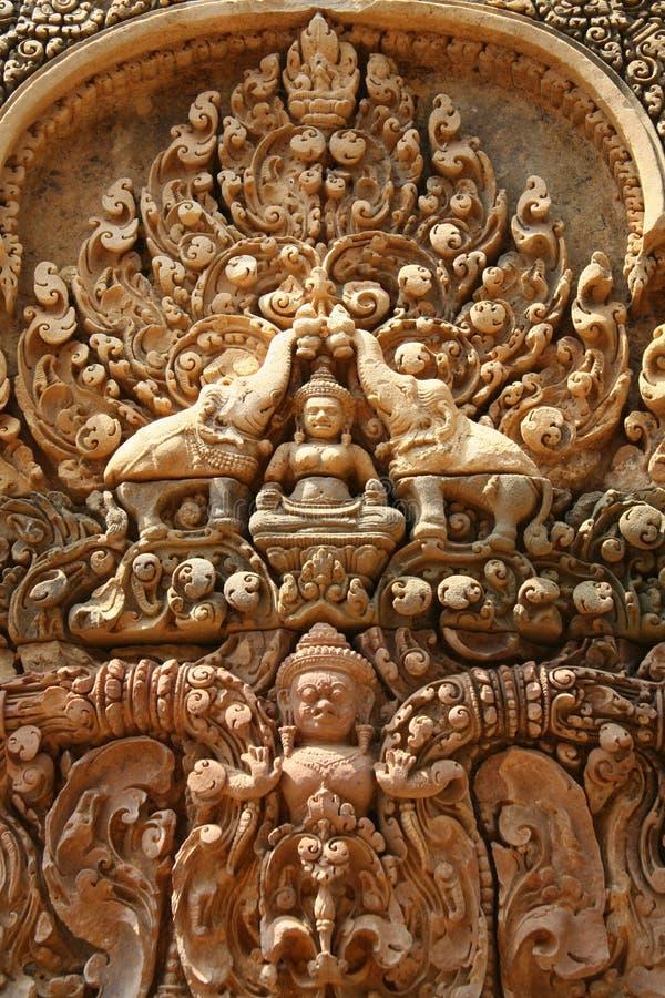 Escultura del detalle en Angkor Wat imagen de archivo libre de regalías