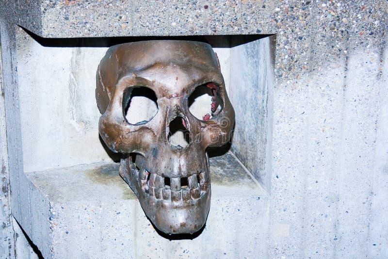 Escultura do crânio no cemitério imagens de stock