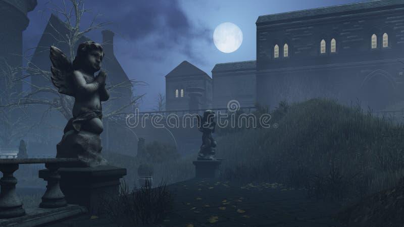 A escultura do cupido no parque abandonado sob a Lua cheia ilustração royalty free