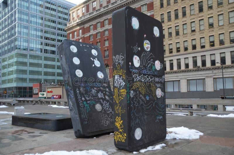 Escultura do dominó de Philadelphfia fotografia de stock