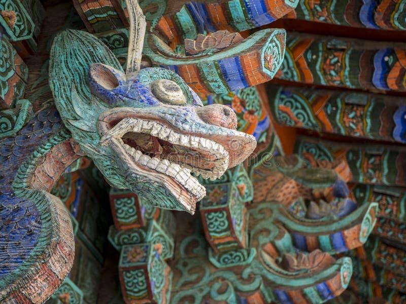 Escultura do dragão do guardião no templo de Bulguksa em Gyeongju, Coreia do Sul imagem de stock royalty free
