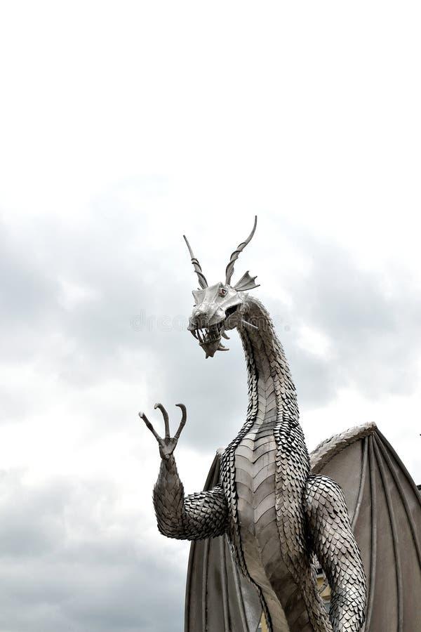 escultura do dragão do metal de galês fotografia de stock