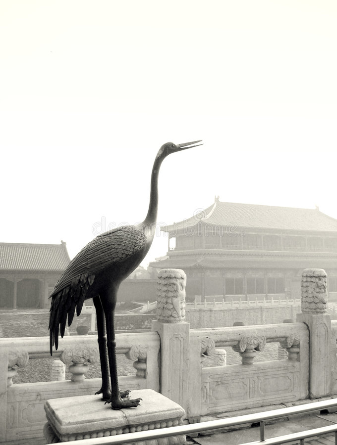 Escultura do guindaste, Beijing fotos de stock