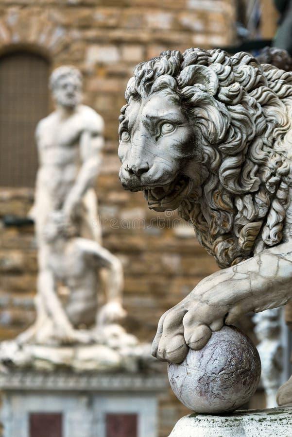 Escultura do renascimento no della Signoria da praça em Florenc fotografia de stock