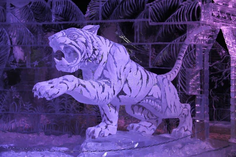 Escultura do tigre do gelo e da neve imagens de stock