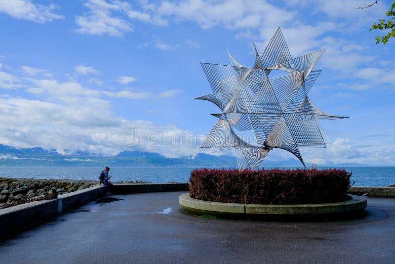 Escultura em Lausana ouchy fotografia de stock royalty free