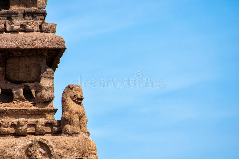 Escultura en el templo de la orilla, Mahabalipuram, Chennai, Tamil Nadu, la India fotografía de archivo libre de regalías