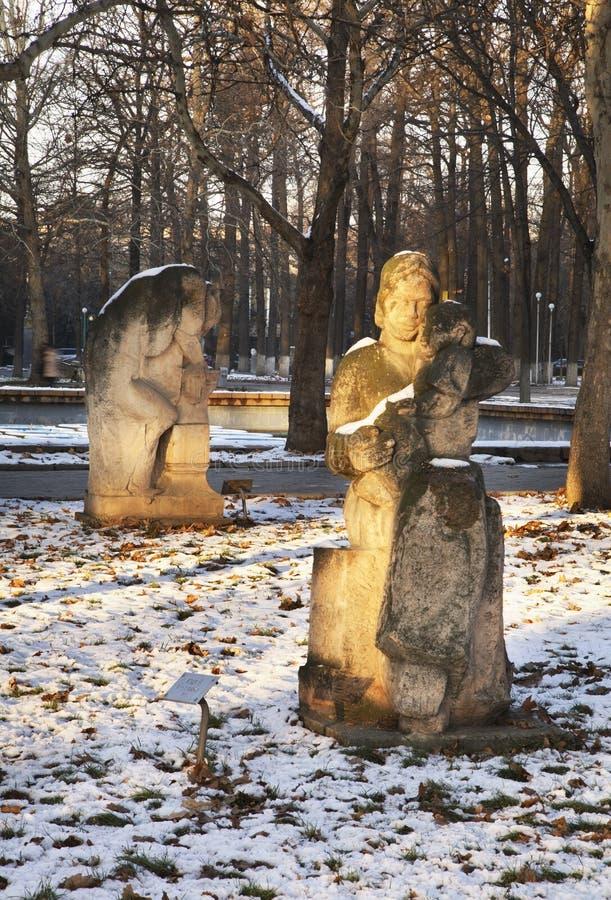 Escultura en Oak Park en Bishkek kyrgyzstan fotografía de archivo libre de regalías