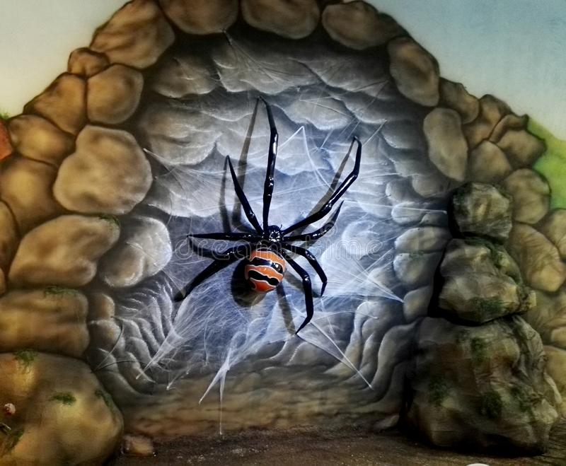 Escultura gigante da aranha no parque Jaime Duque ilustração stock