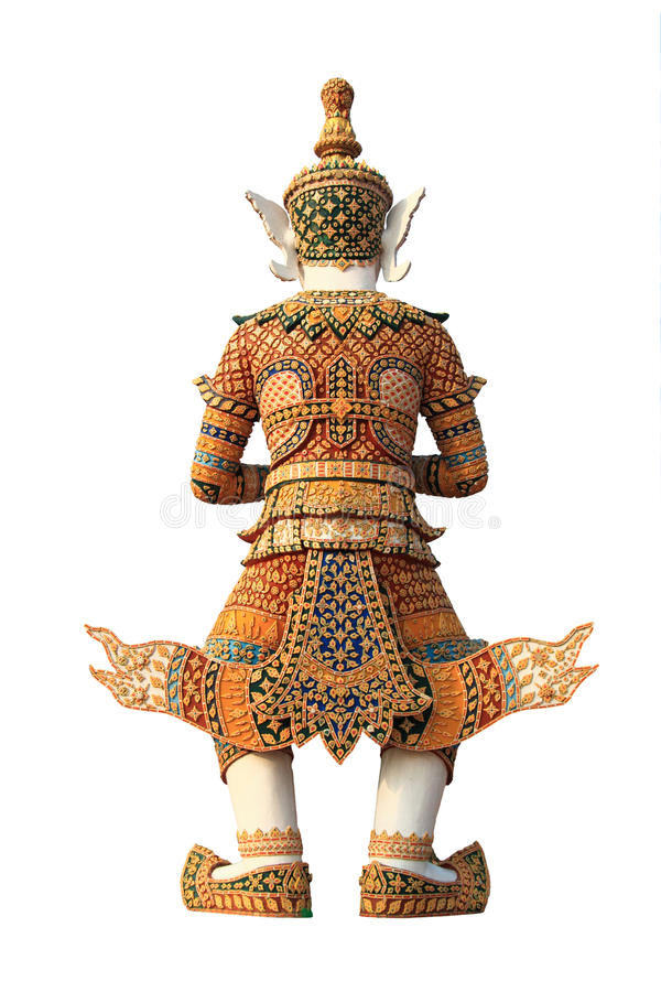 Escultura gigante tailandesa velha no fundo branco fotografia de stock royalty free