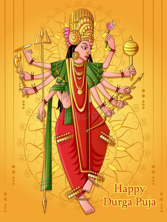 Escultura india de Durga de la diosa para el festival del día de fiesta de Durga Puja de la India en Dussehra Vijayadashami Navra libre illustration