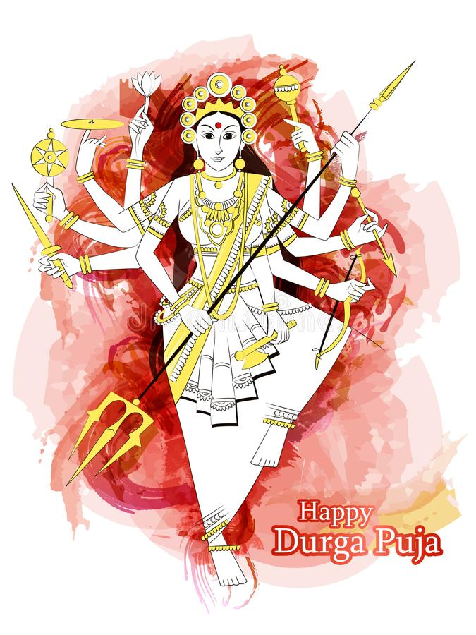 Escultura india de Durga de la diosa para el festival del día de fiesta de Durga Puja de la India en Dussehra Vijayadashami Navra ilustración del vector