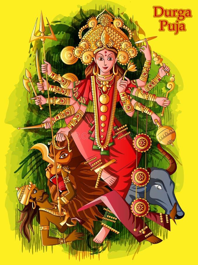 Escultura india de Durga de la diosa para el festival del día de fiesta de Durga Puja de la India en Dussehra Vijayadashami Navra stock de ilustración