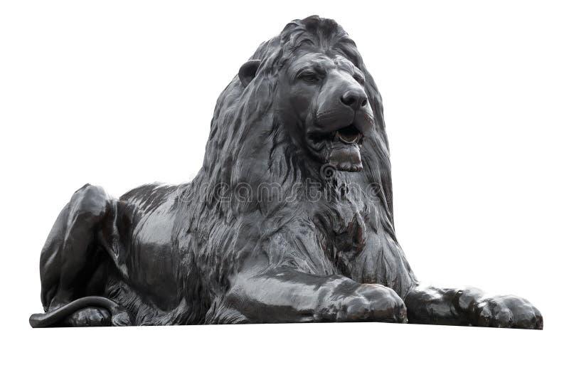 Escultura isolada de um leão quadrado de Trafalgar imagem de stock royalty free