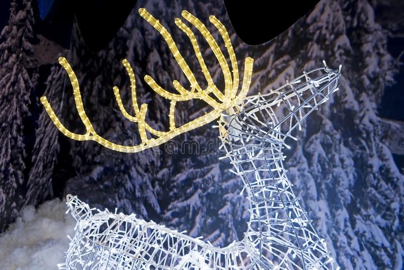 Escultura ligera del reno foto de archivo