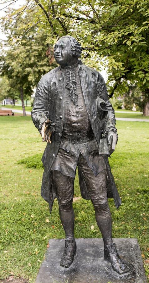 Escultura M Lomonosov en el parque de Muzeon, bronce foto de archivo