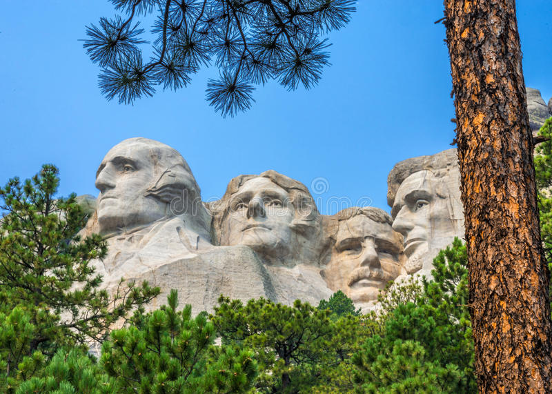 Escultura memorável nacional do Monte Rushmore foto de stock