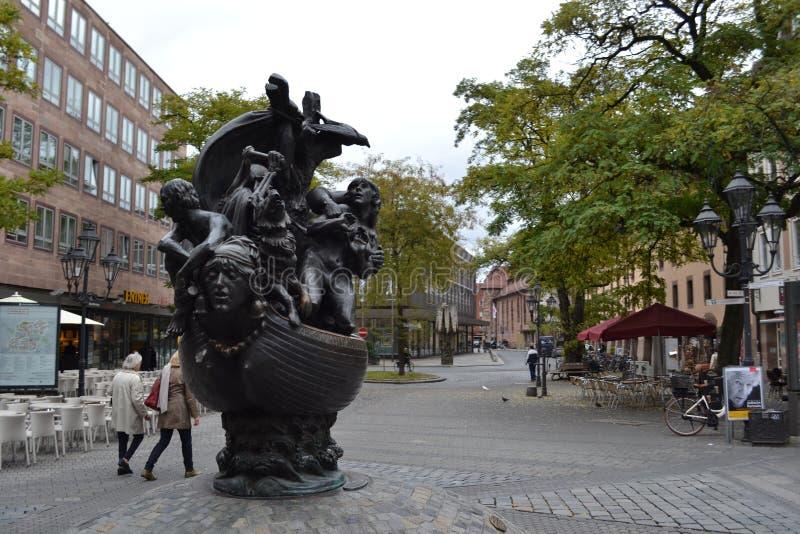 Escultura, nave de tontos, Nuremberg imágenes de archivo libres de regalías