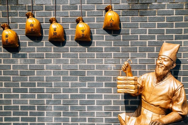 Escultura oriental de la medicina en la calle histórica vieja del Namseong-ro Yangnyeongsi en Daegu, Corea fotografía de archivo