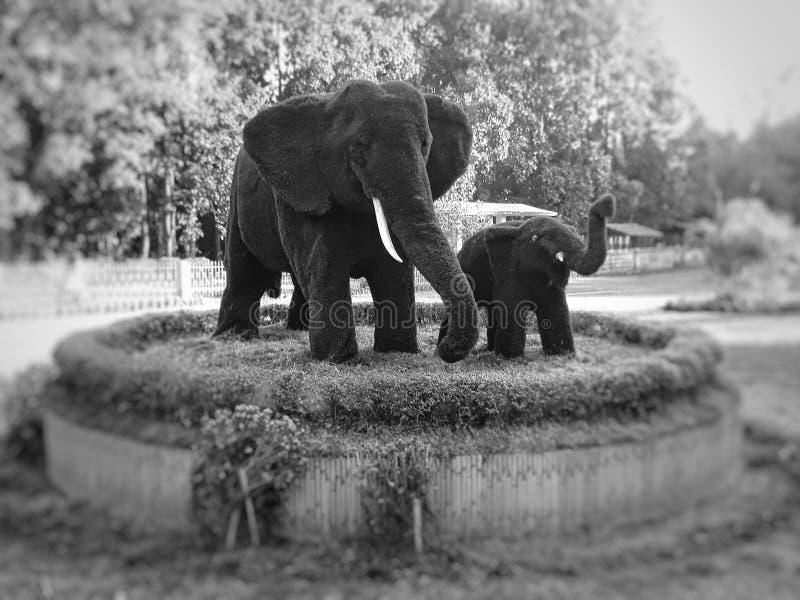 Escultura preto e branco da estátua dos elefantes feita da grama fotos de stock royalty free