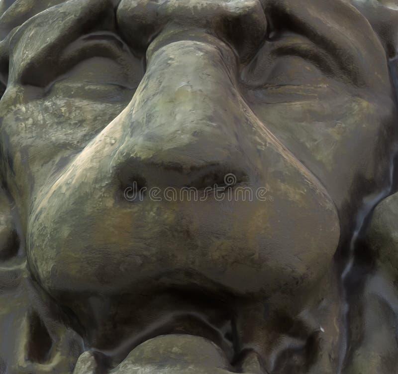 Escultura principal do leão do vintage isolada na ilustração branca do fundo 3d ilustração royalty free