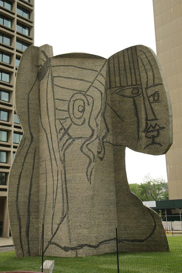 Escultura que Cubistic o busto de Sylvette criou por Carl Nesjar em colaboração com Pablo Picasso imagens de stock
