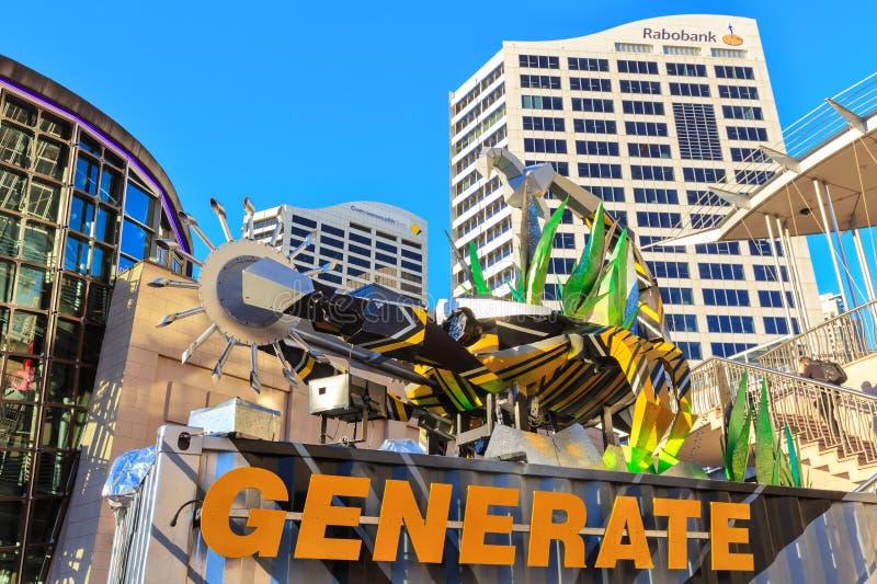 Escultura robótico do escorpião em Sydney, Austrália, parte 'de Sydney vívido ' fotos de stock