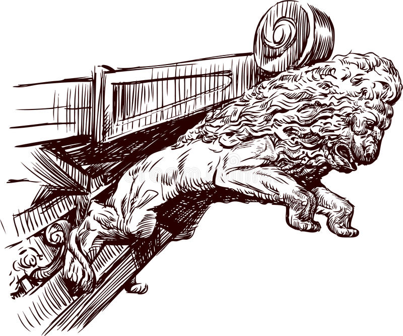 Escultura Rostral de um leão ilustração stock
