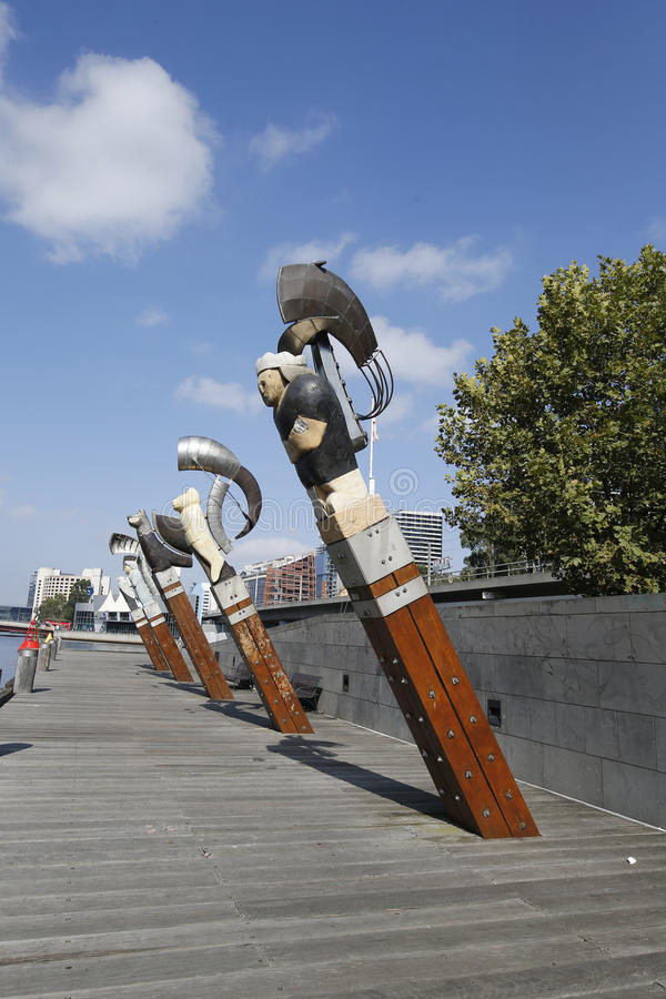 Esculturas da constelação por Bruce Armstrong e por Geoffrey Bartlet em Melbourne foto de stock
