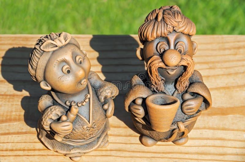 Esculturas de argila diminutas foto de stock