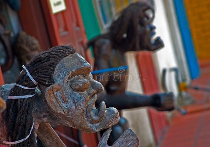 Esculturas de madera rituales en la exhibición en Malaca, Malasia fotografía de archivo libre de regalías