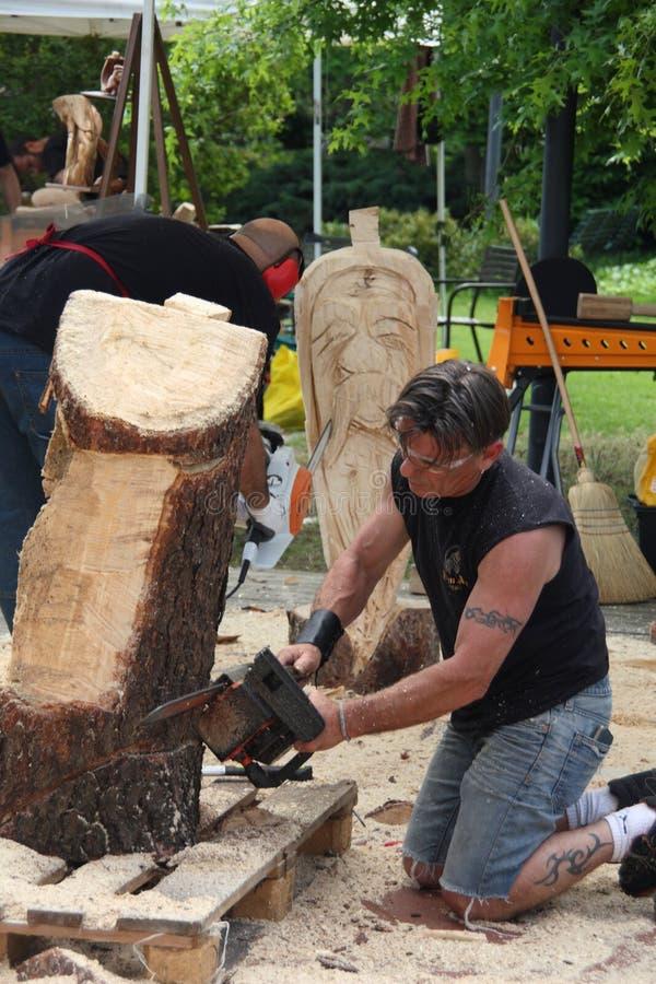 Esculturas de madera vivas con el ` Art Settala - MI de Prem - Italia imágenes de archivo libres de regalías