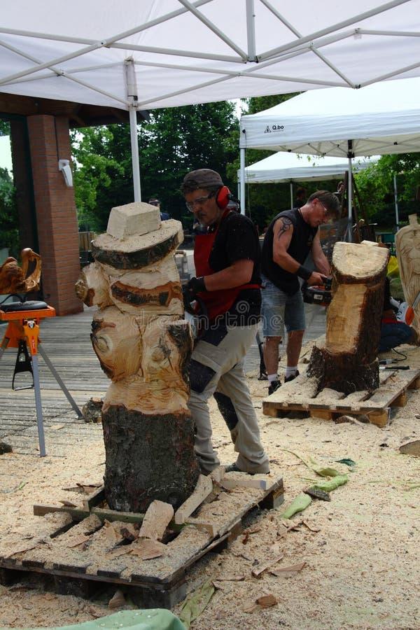 Esculturas de madera vivas con el ` Art Settala - MI de Prem - Italia imagen de archivo