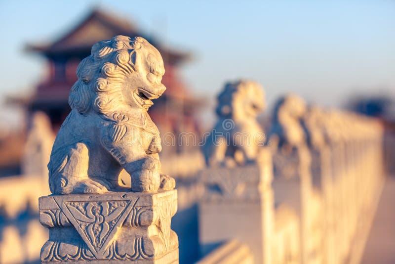 Esculturas de pedra do leão fotografia de stock royalty free
