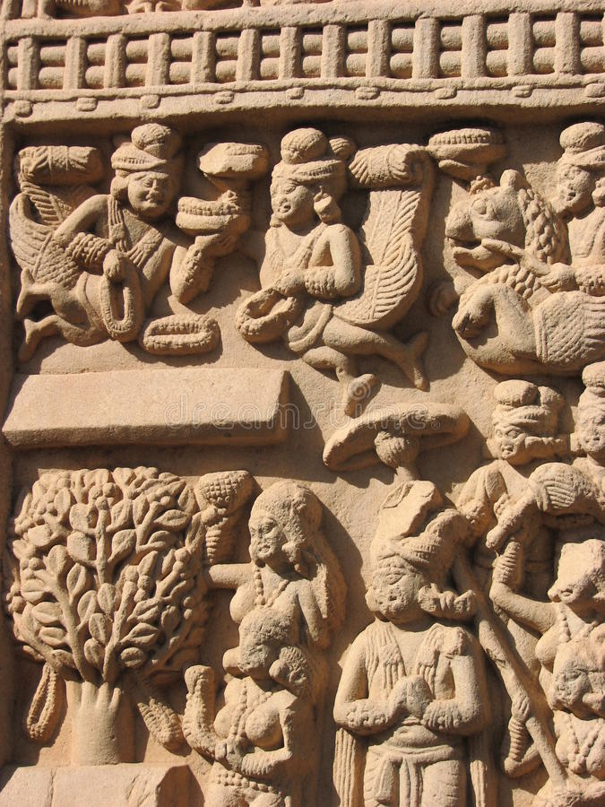Esculturas de pedra em Sanchi, Madhya Pradesh fotografia de stock royalty free