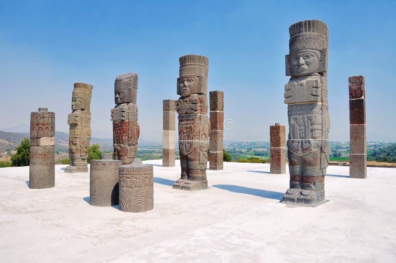 Esculturas de Toltec em Tula fotografia de stock royalty free