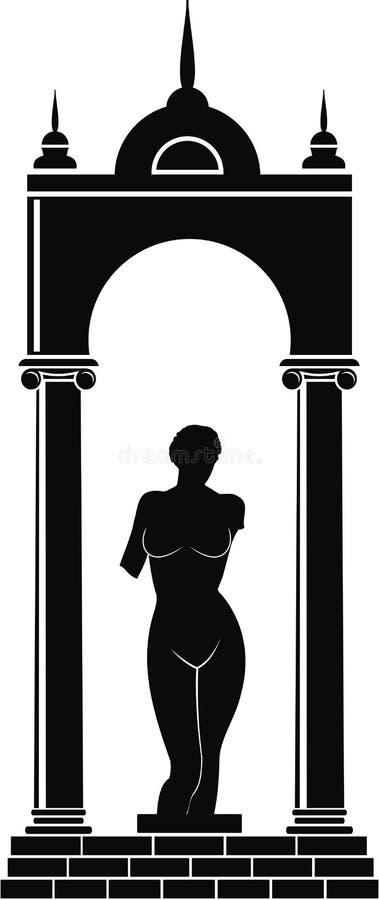 Esculturas de Venus (Aphrodite) no arco ilustração stock