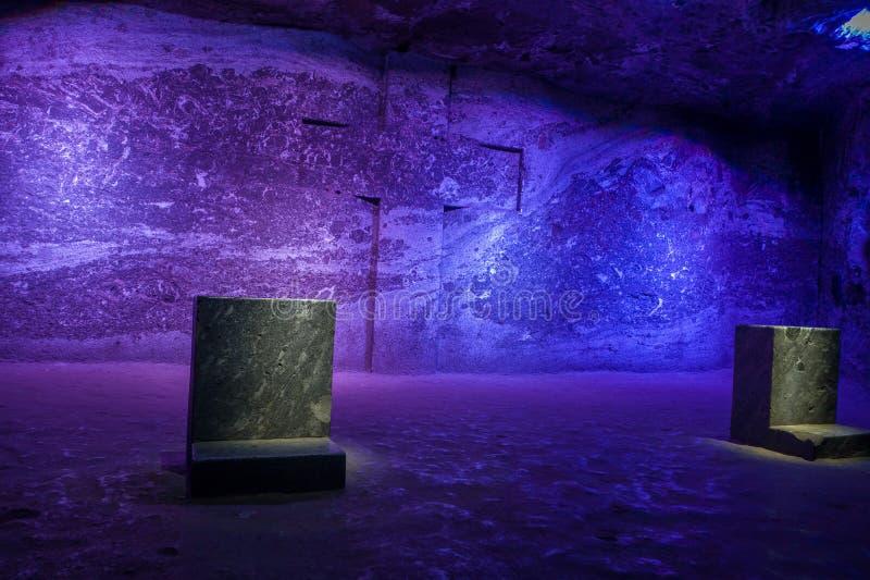 Esculturas do mármore e do sal no sal subterrâneo imagens de stock