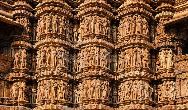 Esculturas famosas de templos de Khajuraho, Índia foto de stock