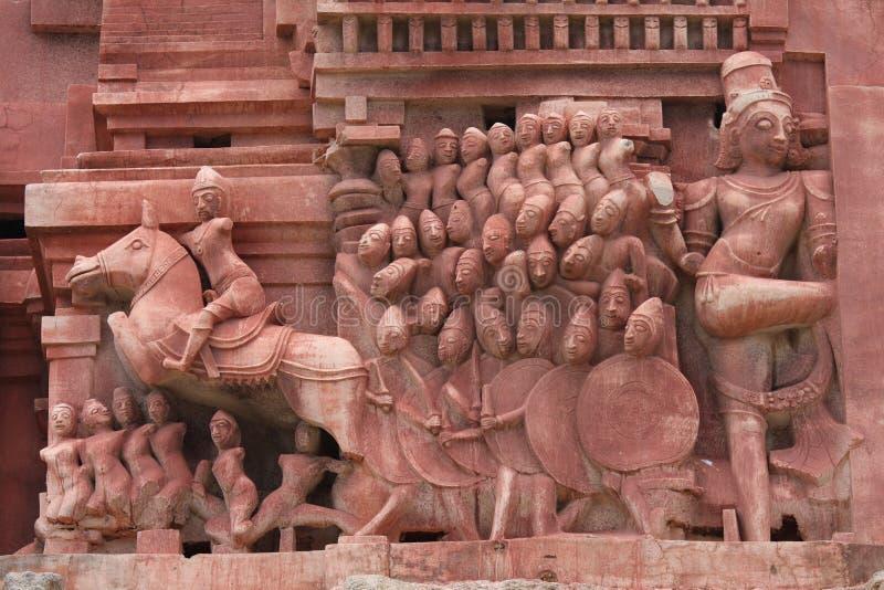 Esculturas no templo de Hampi, India foto de stock