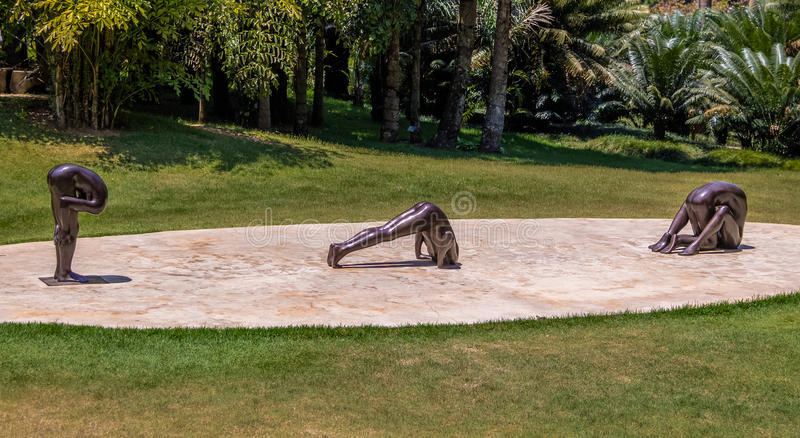 Esculturas sin título de Edgard de Souza en Inhotim Art Museum contemporáneo público - Brumadinho, Minas Gerais, el Brasil fotografía de archivo