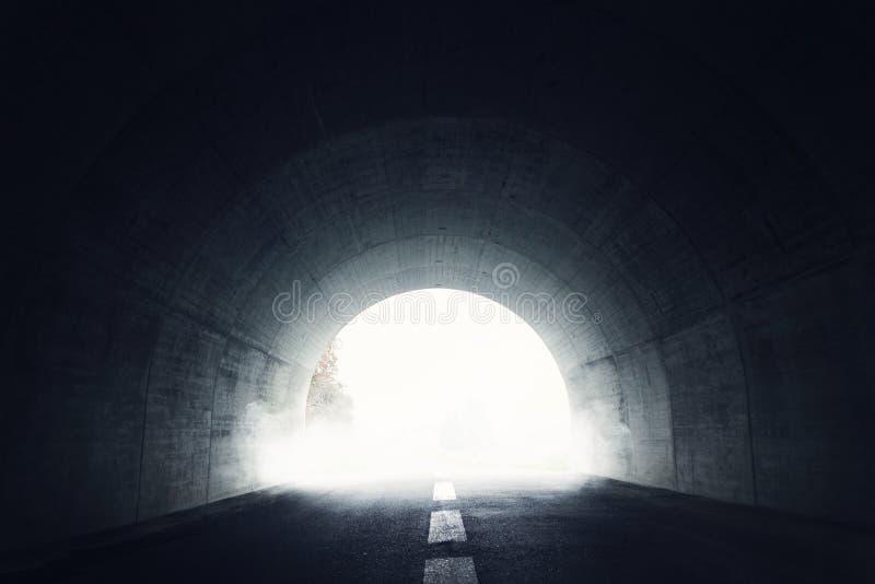 Escureça o túnel com névoa fotografia de stock royalty free