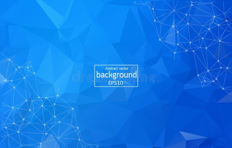 Escuro abstrato - fundo de superf?cie poligonal azul Baixo projeto poli da malha com ponto e linha de conex?o Estrutura do tri?ng ilustração do vetor