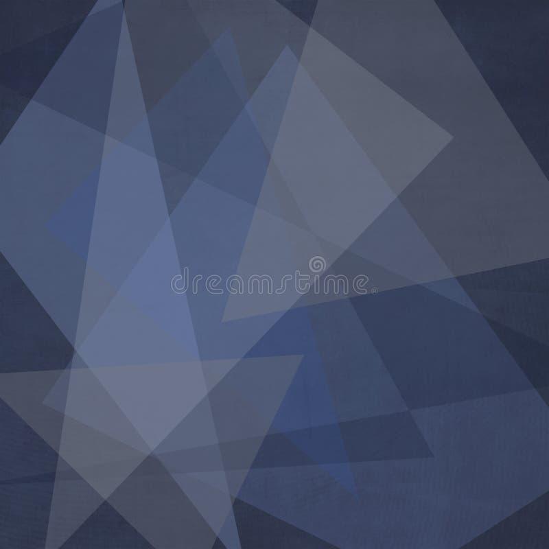 Escuro abstrato - teste padrão listrado branco e blocos do fundo azul em linhas diagonais com textura azul do vintage ilustração do vetor
