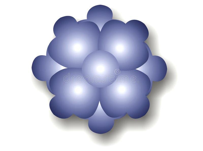 Escuro - bolha azul da flor ilustração stock
