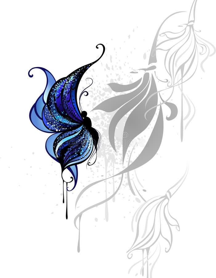 Escuro - borboleta azul ilustração stock