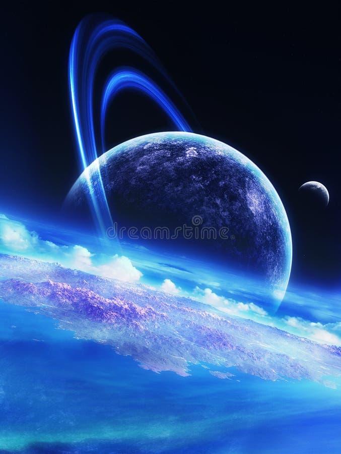 Escuro - céu azul ilustração stock
