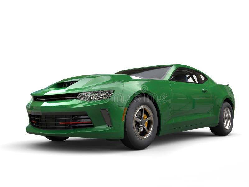 Escuro - carro impressionante verde do músculo ilustração do vetor