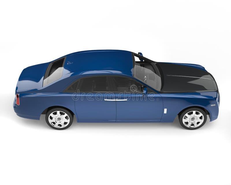 Escuro - carro luxuoso moderno azul com capa preta ilustração royalty free